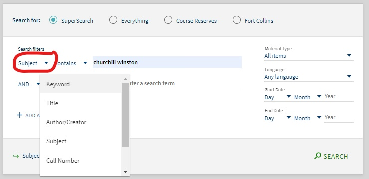 subject search in supersearch