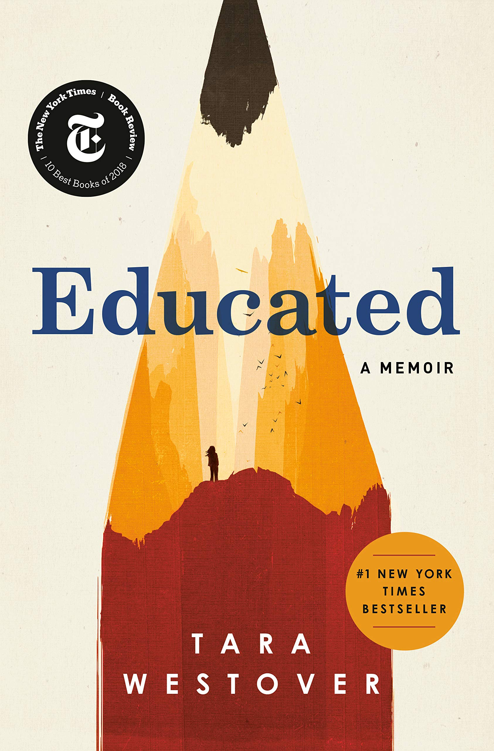 Book cover of Educated by Tara Westover. Drawing of a pencil made to look like a mountain peak.