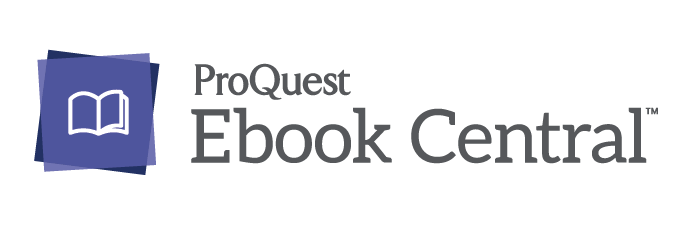 """""""ProQuest Ebook Central"""" written in text accompanied by a purple square and white outline of a book. Logo."""