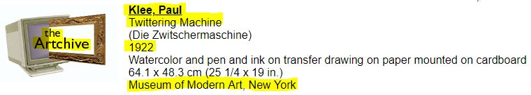 Information about the painting Twittering Machine, found on the website Artchive.com