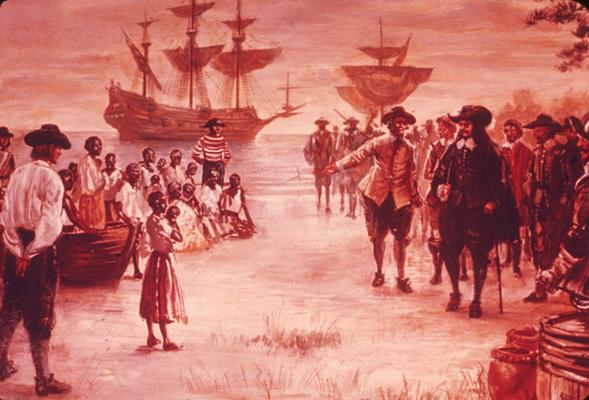 A Dutch slave ship arrives in Virginia, 1619