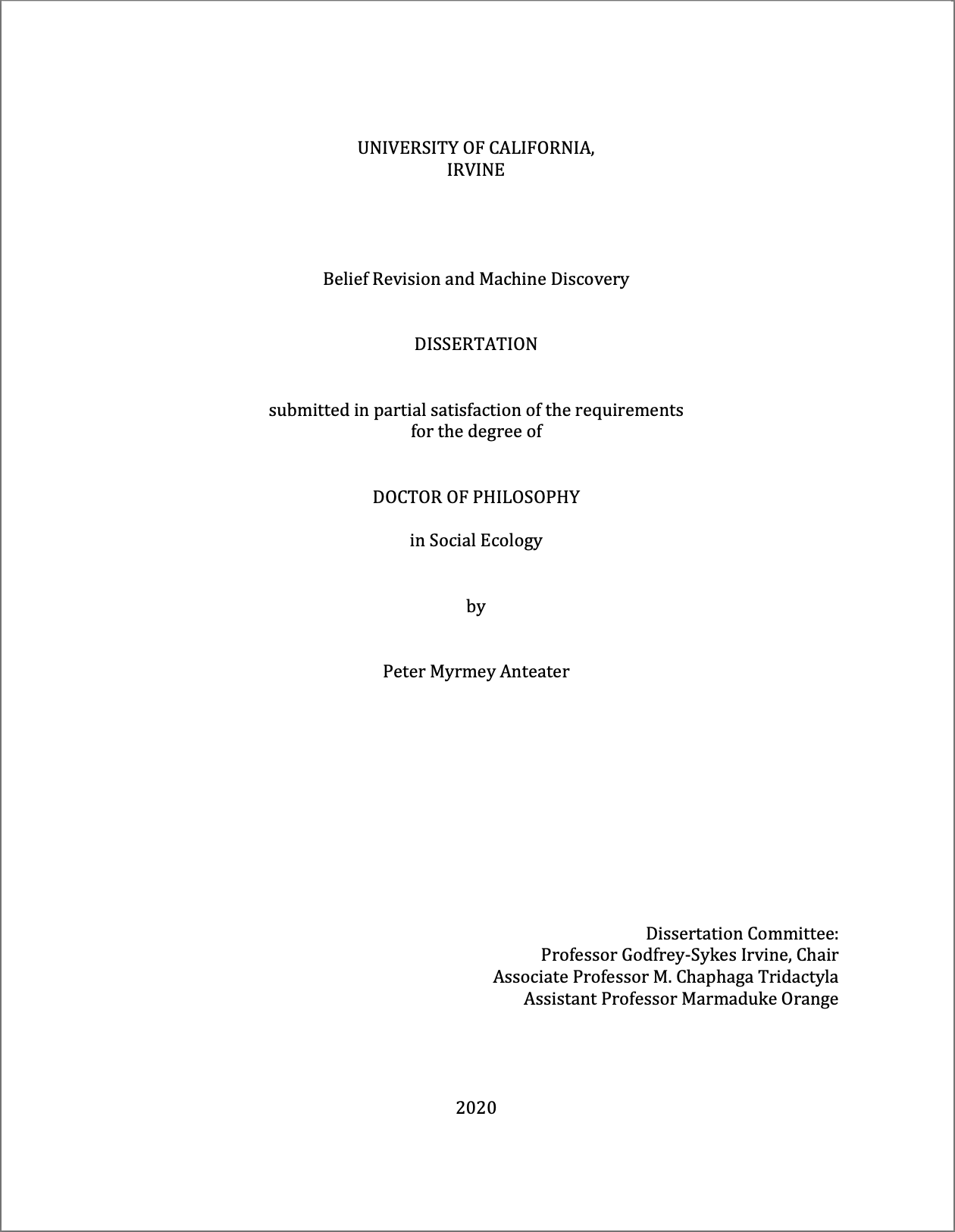 Sample title page from Dissertation Template. Word document screenshot