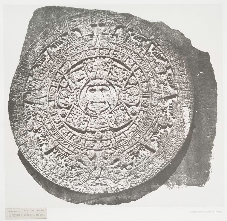 Black and white photograph of the Aztec calendar.