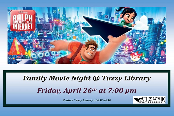Family Movie Night at Tuzzy Library on April 26 at 7pm