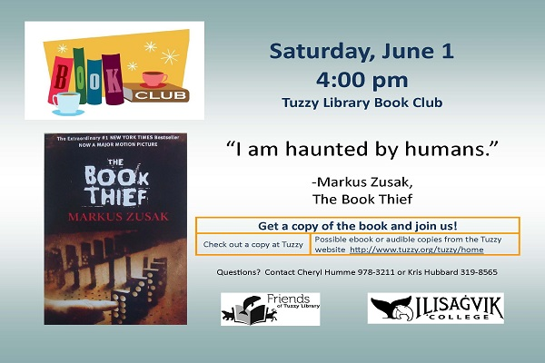 Book Club on June 1 reading the Book Thief by Marcus Zusak