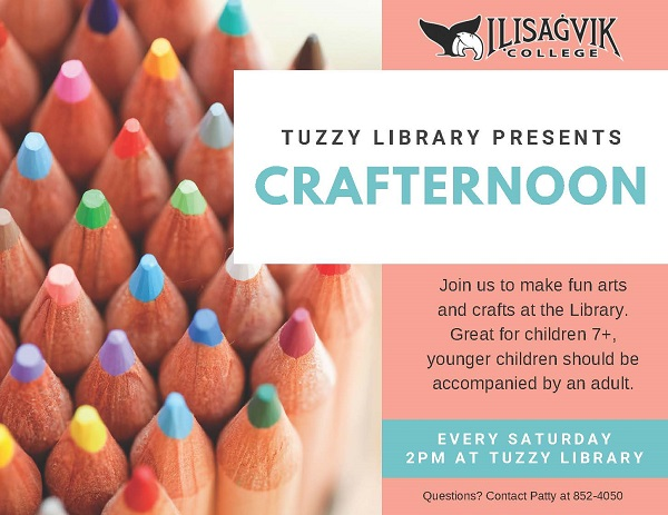 Crafternoon at Tuzzy Library Saturdays starting April 20 to May 11 starting at 2pm