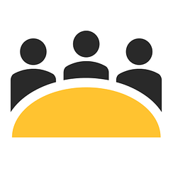 Icon of three people discussing an idea around a round table