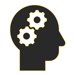 Icon of a thinking person with gears spinning in their head