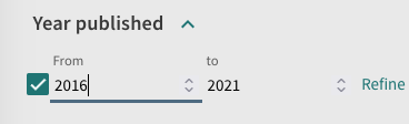 Use the year published facet to limit by date