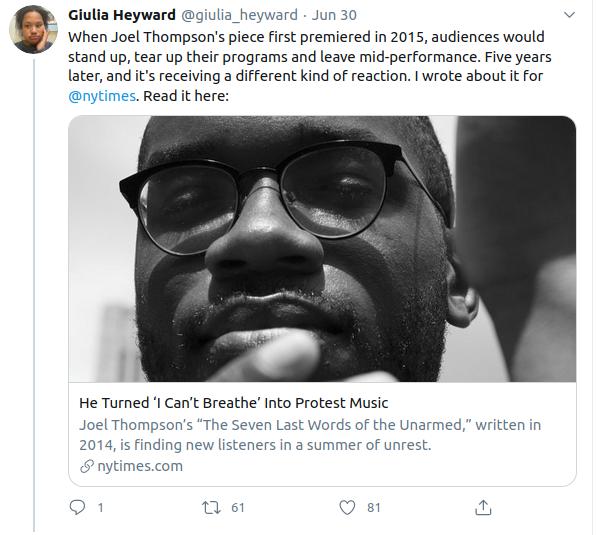 "Tweet by Giulia Heyward announcing her New York Times article on Joel Thompson's ""Seven Last Words of the Unarmed"""