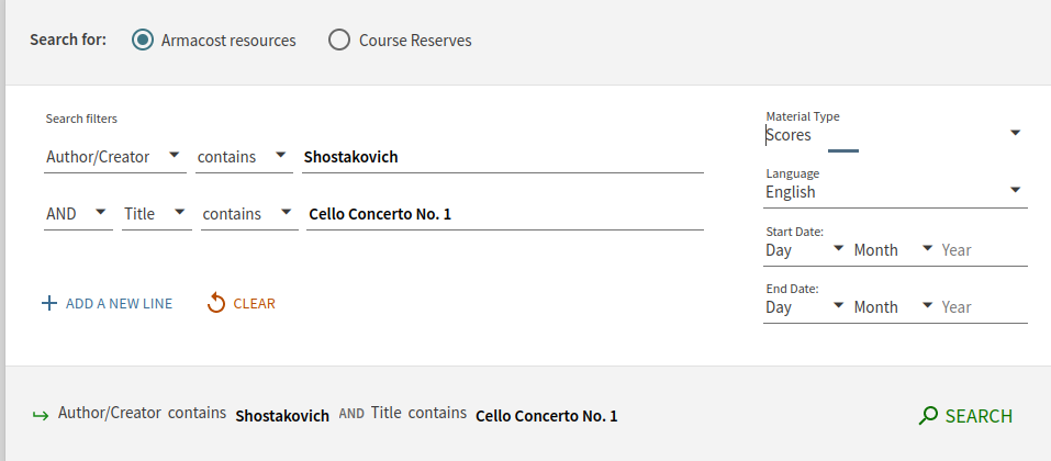 Screen shot of a search for the score to Shostakovich's First Cello Concerto