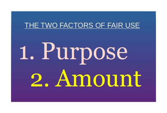The two factors of fair use are your purpose and the amount of the work you are using.