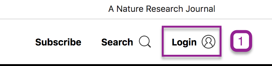 Login button on Nature homepage