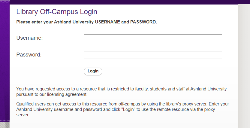Library Off-Campus Login
