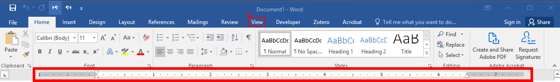 Rulers can be turned on and off under the view tab