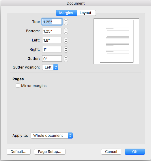 top and bottom page margins are 1.25 inch, left margin is 1.5 inch, right margin is 1 inch