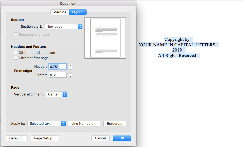 to center text vertically open the document or page setup dialogue box and change the vertical alignment to top