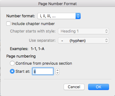 In the page number format box, change number format to Roman Numerals and start at ii