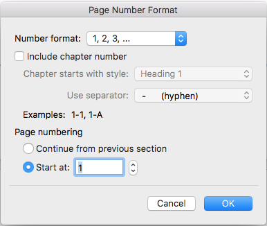 open the page number formatting dialogue box to adjust number format to Arabic numerals starting at 1