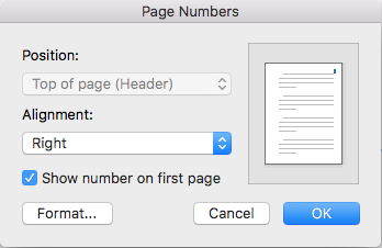 insert page numbers in the top, right of the header