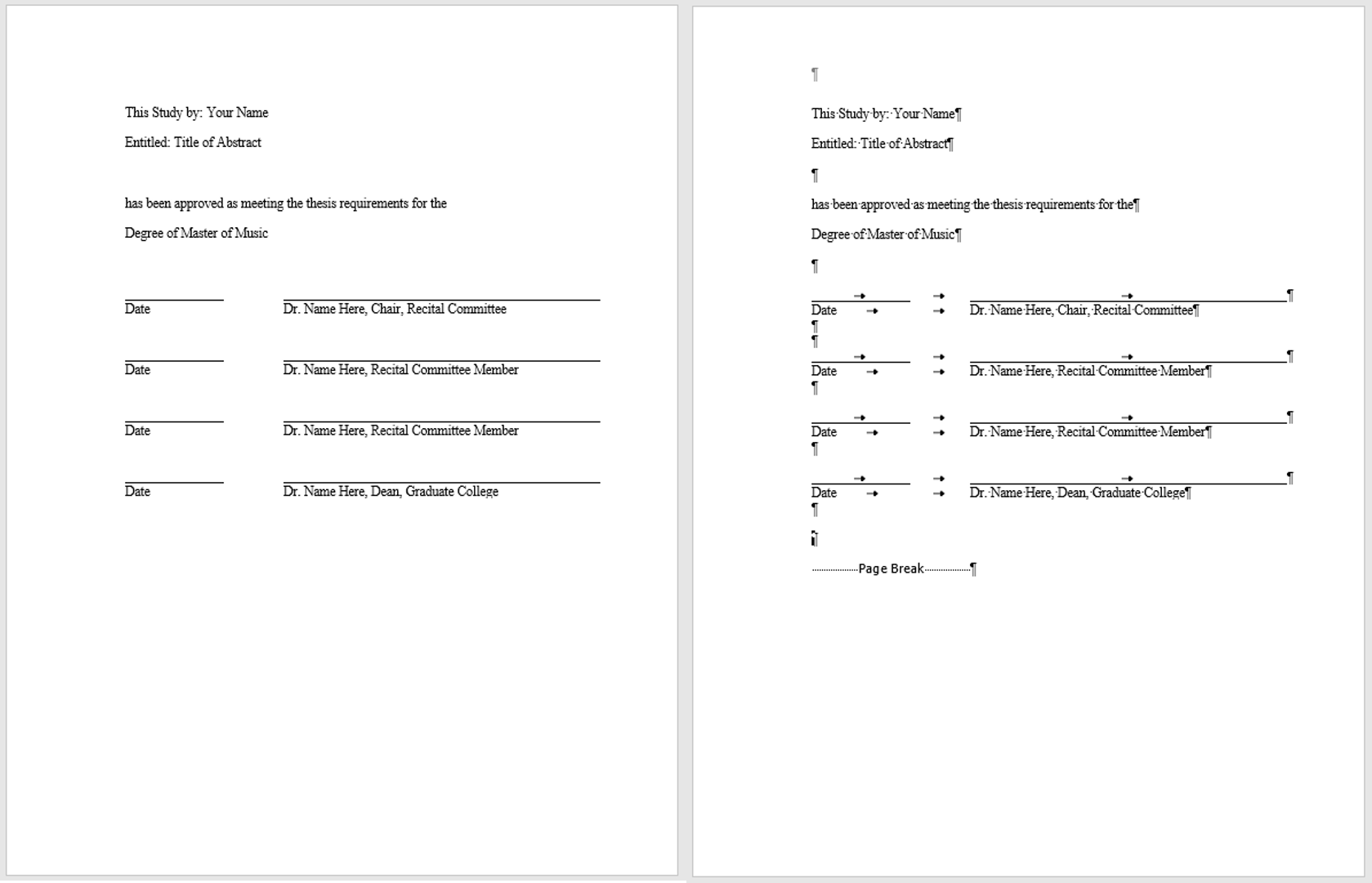 Examples of a properly formatted abstract approval page with and without nonprinting characters