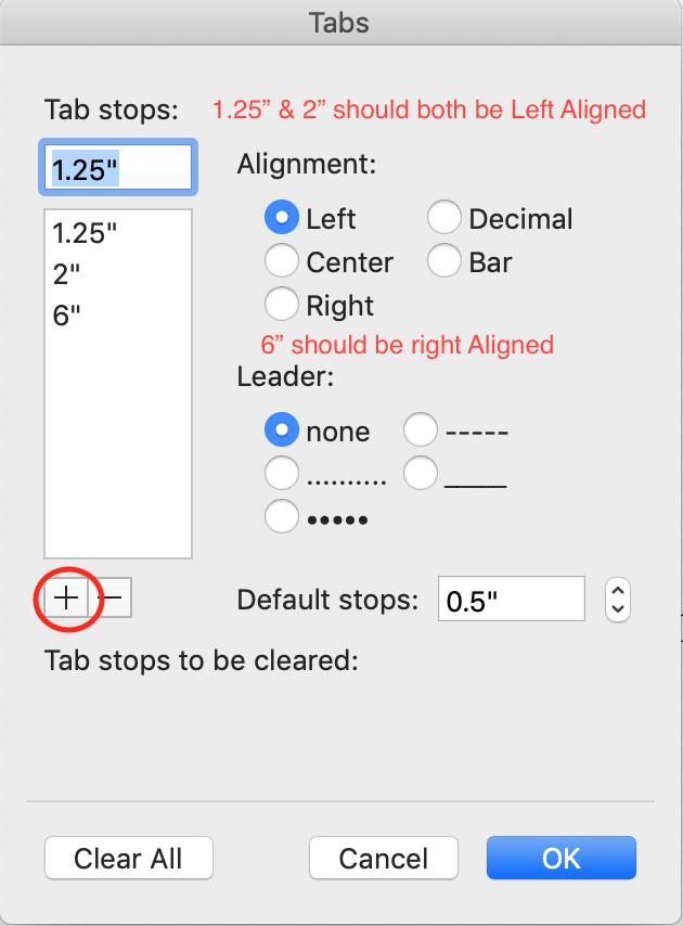 tab stops