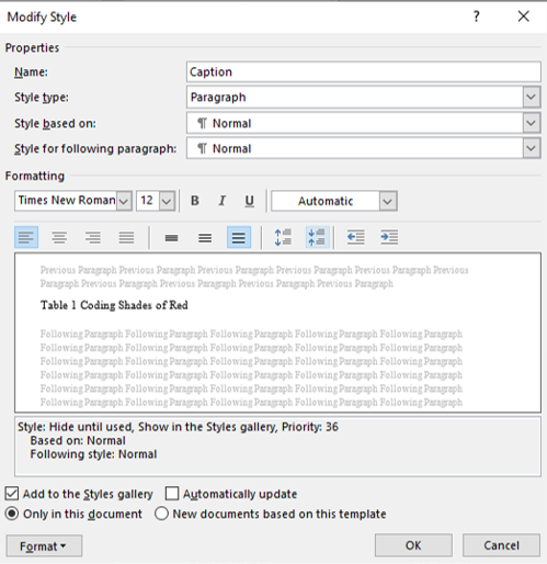 the formatting area on the modify style box will allow for creating necessary changes to the default settings