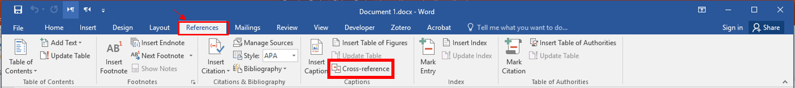 under the REFERENCES tab, Cross-reference is located towards the middle of the ribbon