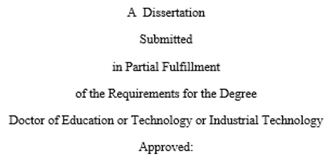 "change the first line to read ""A Dissertation"""
