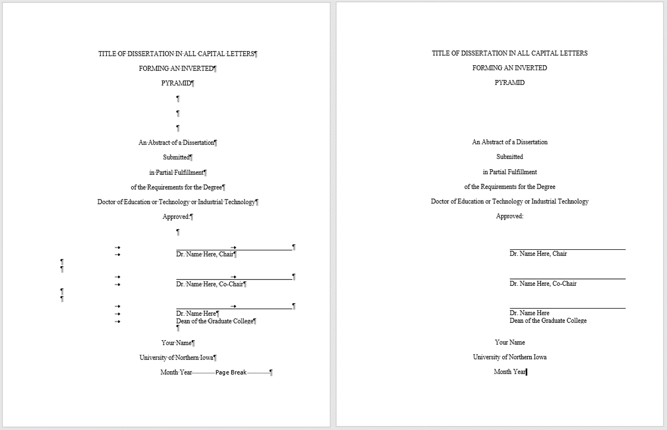 What a dissertation abstract title page looks like with and without markup