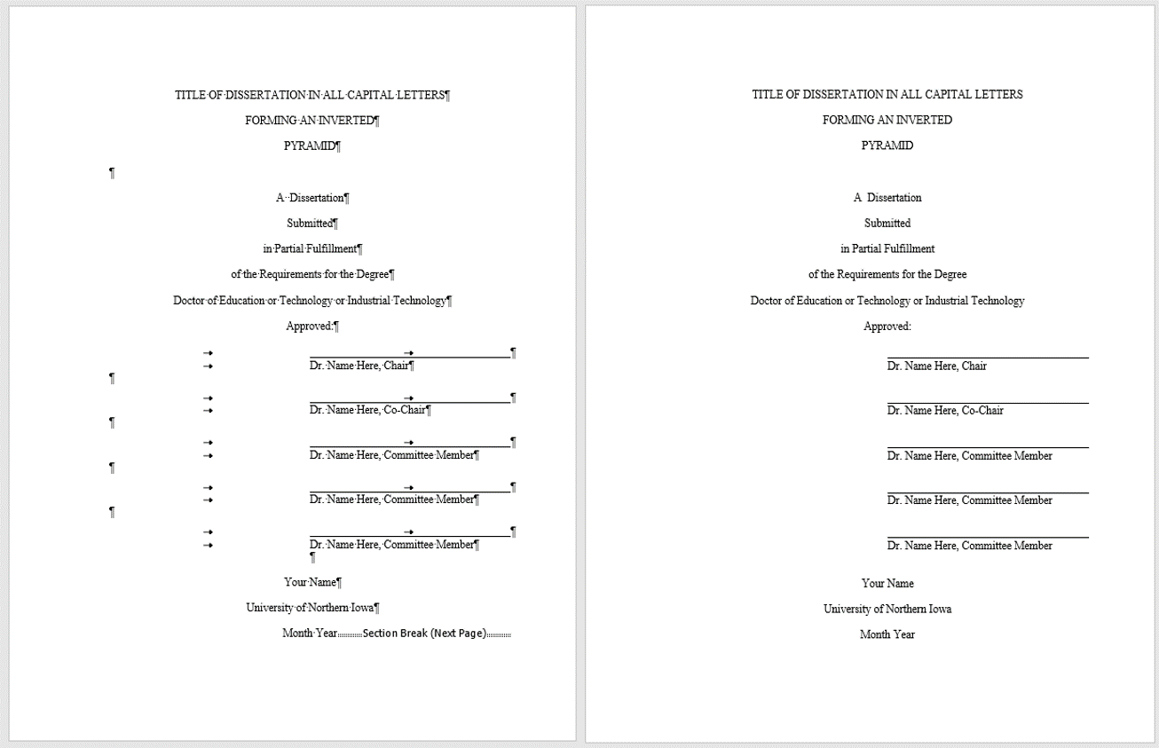 dissertation title page with and without markup