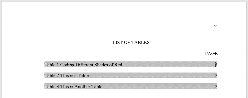 The updated list of tables will have a field with each entry labeled and numbered, with the title, followed by a dot leader, and then the page number