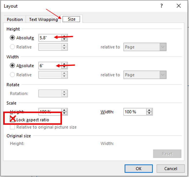 The layout dialog box has tabs at the top. Select size, use the options in the dialog box to resize the figure.