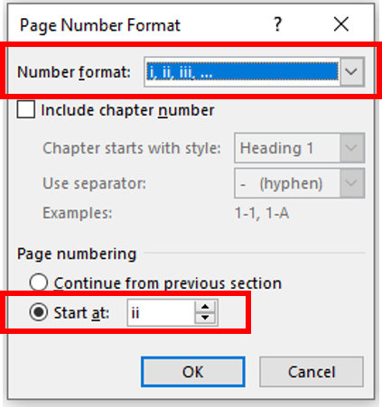 Change the number format to be in Roman Numerals and start at page ii