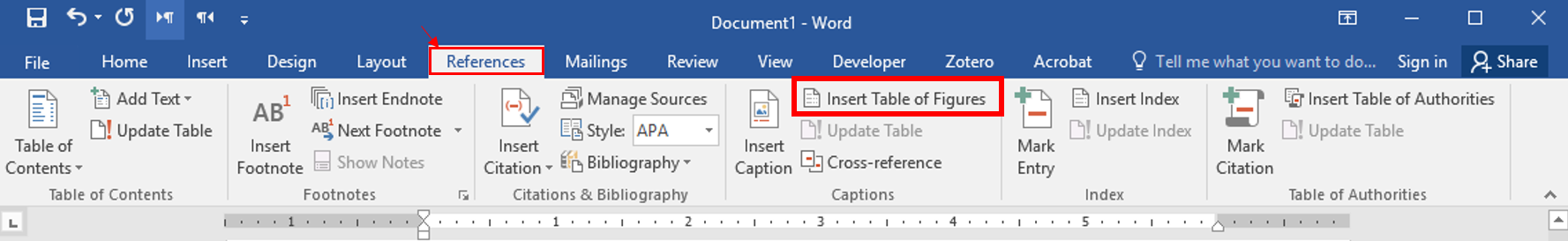 insert table of figures is located under the REFERENCES tab