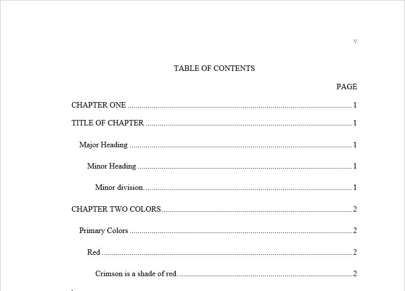 The table of contents will insert with all heading