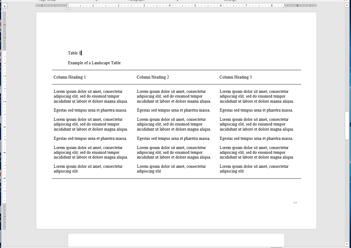 example of a table on a landscape page that is larger than the margins allow