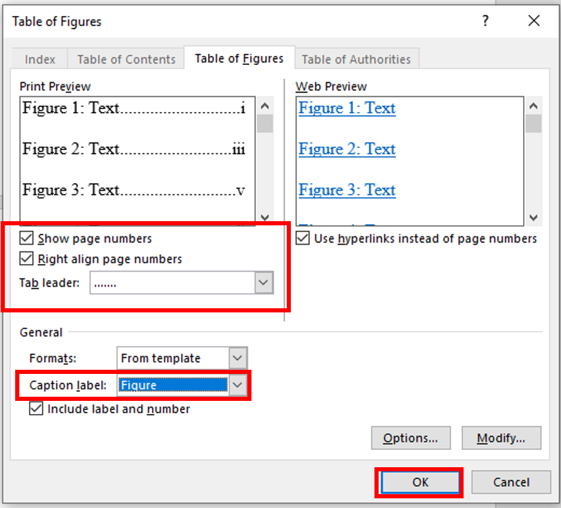 customize list of figures options and ensure correct caption label is selected