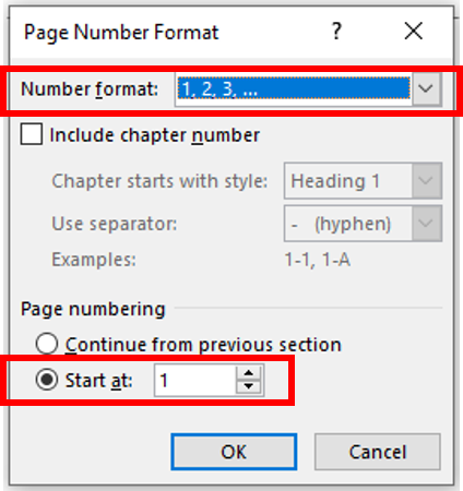 number format should be in arabic numerals, 1, 2, 3, and the start at should be changed to 1