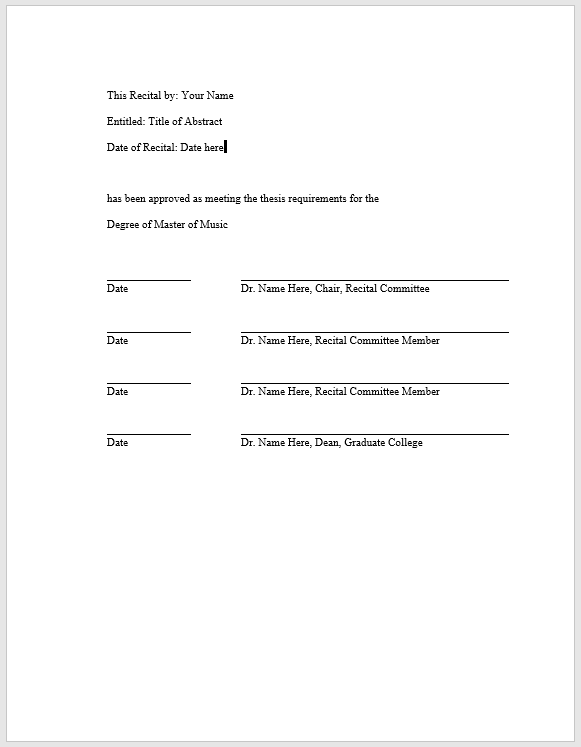 A properly formatted recital approval page including lines for name, title, date of recital, and signatures of all committees