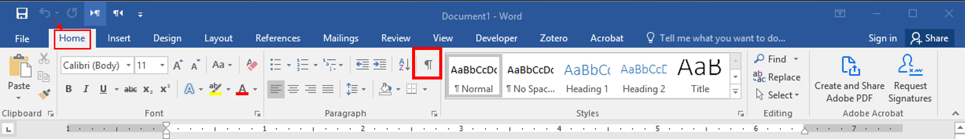 nonprinting characters is a backward P located under the home tab
