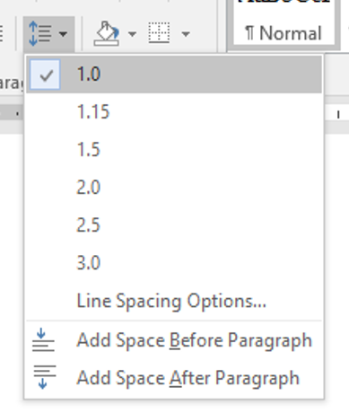 select the 1.0 from the line spacing menu found on the paragraph section of the home tab