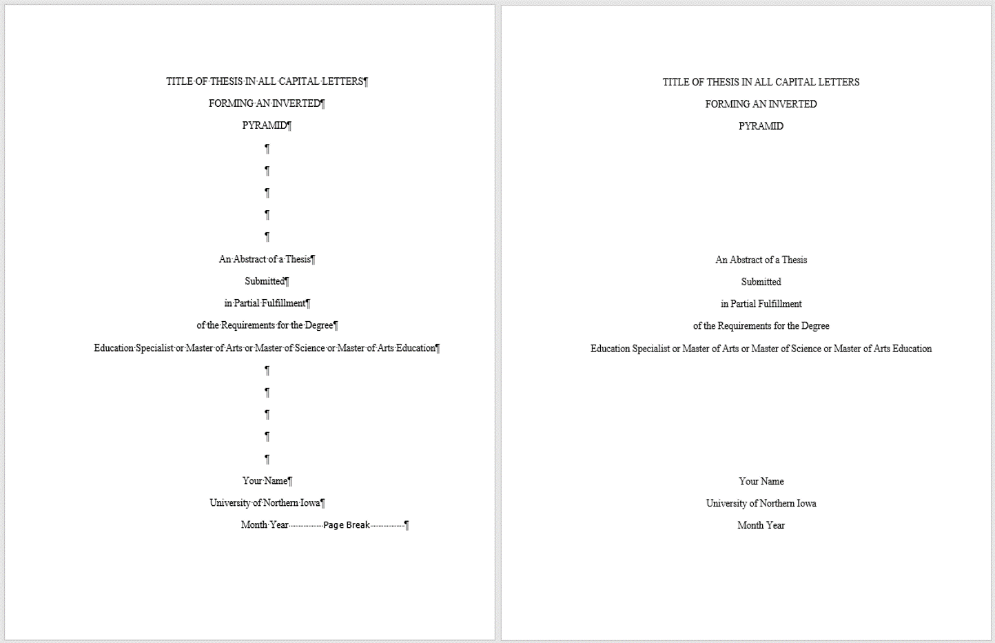 The thesis abstract title page with and without markup to show that the page break should fall at the bottom of the page