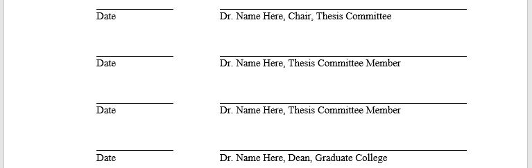 There should be at least four lines including one for the dean of the graduate college