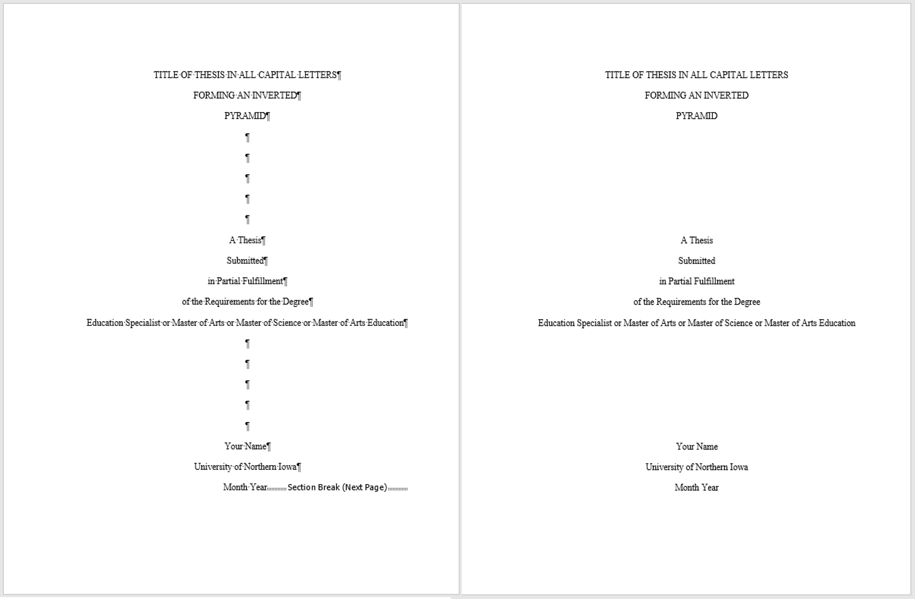 the thesis title page with and without markup to show location of section break (next page) at the end