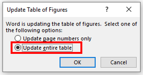 Always select the option to update the entire table in the popup window