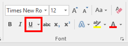 underline font style is located under the font section of the HOME tab