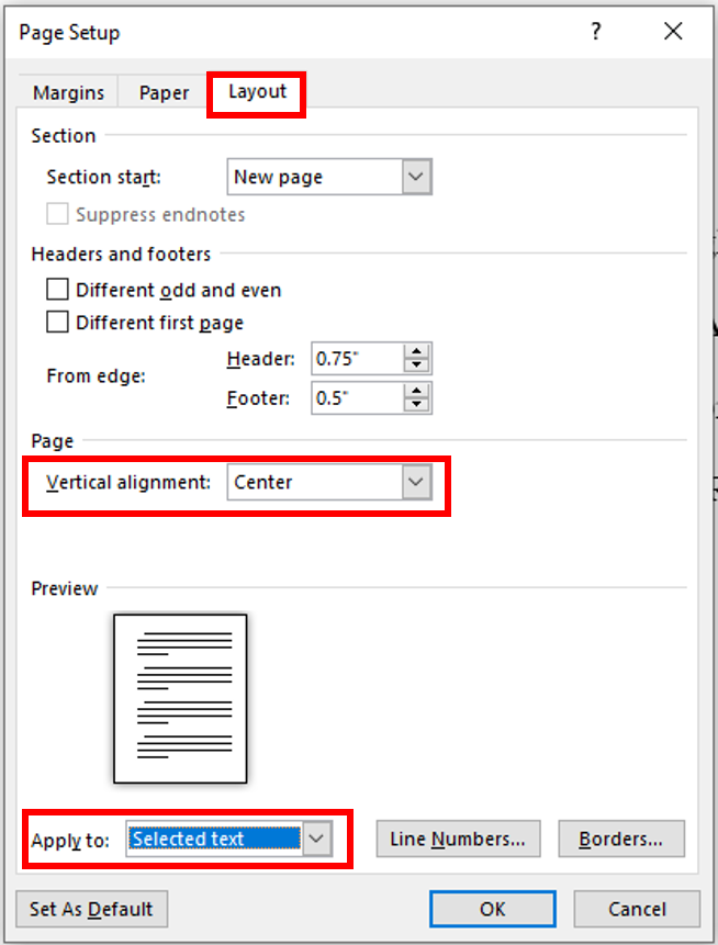 vertical alignment can be changed in the layout portion of the page setup dialog box, it should be applied to selected text on the copyright page