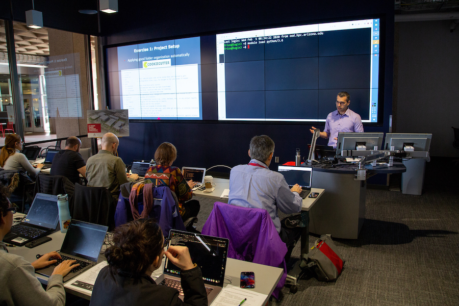 Instructor teaching students in the Data Studio