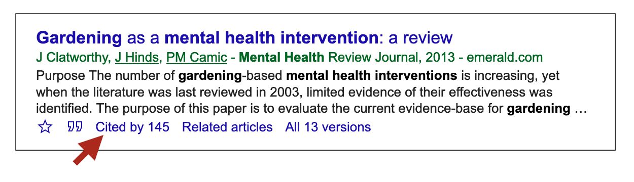 "Example of a results in Google Scholar, showing a ""cited by 144"" link."